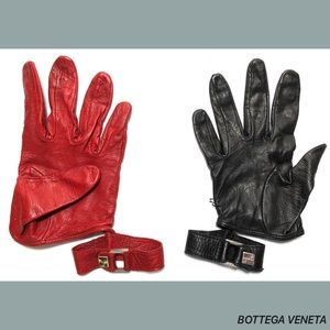 Bottega Veneta Black Red Leather Stud Gloves Size7